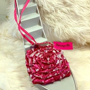 Betseyville pink rose sequin crossbody